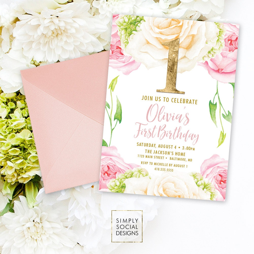 Pink Floral Birthday Invitation First Birthday St Birthday Rose - 1st birthday invitations gold and pink