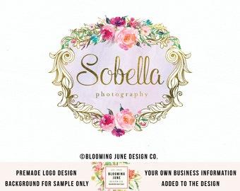 premade vintage watercolor flower logo design gold foil logo bespoke logo romantic logo photography logo ornate frame logo event logo design