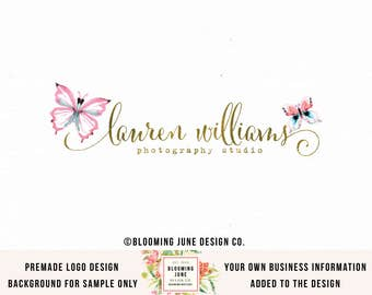 butterfly logo premade logo photography logo boutique logo event planner logo wedding logo bespoke logo boutique logo photographers logo