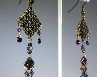 After Midnight in Morocco Indigo Flames Long Bronze and Magic Coated Matagama Bead Earrings Exotic Boho Bellydance Steampunk Fantasy Party