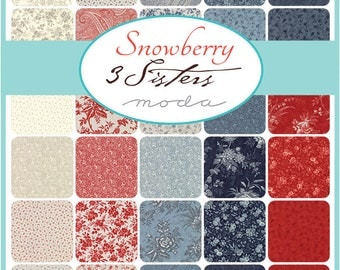 """Moda Snowberry Charm Pack-  42- 5"""" squares 44140PP by 3 Sisters  New Early Release"""