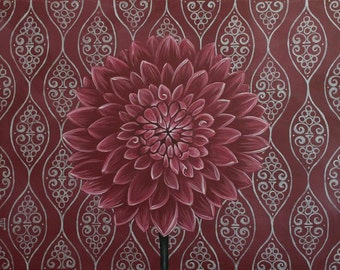 Burgundy Wine Dahlia Silver Metallic Pattern Acrylic Painting