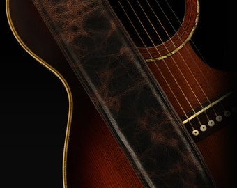 Distressed Leather Guitar Strap, Brown Guitar Strap: Badlands Guitar Strap