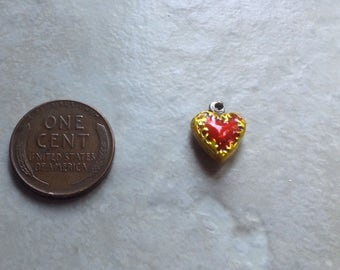 Vintage Sterling Silver Miniature Puffy Heart Enameled red and gold Bracelet Charm