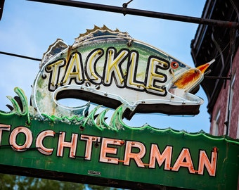 Baltimore Tackle Shop Print | Fisherman Gift | Man Cave Wall Art | Baltimore Art | Gift for Him | Neon Sign Art | Fishing Decor | Neon Fish