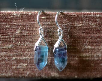 rainbow fluorite point earrings