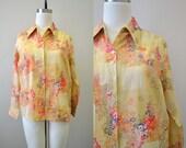 1970s Tan Floral Shirt