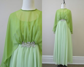1970s Emma Domb Green Chiffon Evening Gown