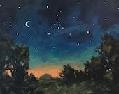 Sleepy Night - 6x8 inch ORIGINAL acrylic night sky painting