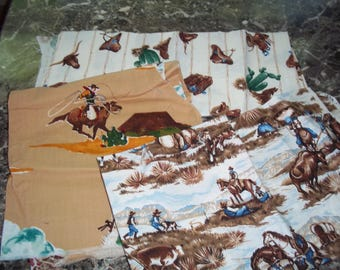 Cowboy remnants Lot #2  Variety of colwboy print fabric, vintage