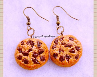 Cookie Earrings , Realistic Chocolate Chip Polymer Clay loaded  Baked Chocolate Chip Cookie Earrings, Kawaii, Birthday,  By: Tranquilityy