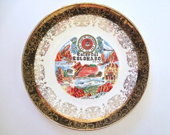 Vintage Colorado Plate, 50s Colorado Collectible Plate, Royal Gorge, Pikes Peak, Berthoud Pass, Big Thompson Canyon, Jackpot Jen