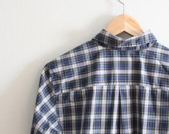 vintage 80s ladies plaid button down shirt - navy plaid shirt / Lands End shirt - vintage preppy shirt / Lands' End blouse - preppy top