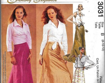 McCall's 3031 Evening Skirt & Blouse Sewing Pattern UNCUT Evening Elegance Long Floor Length Size 8, 10, 12