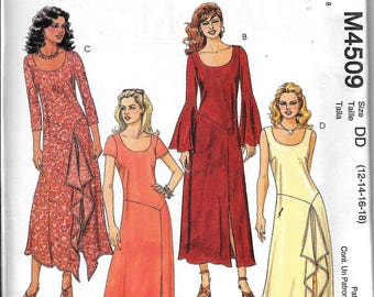 McCall's M4509 Dress Fitted Ankle Length Scoop Neck Sewing Pattern 4509 UNCUT Size 12, 14, 16, 18