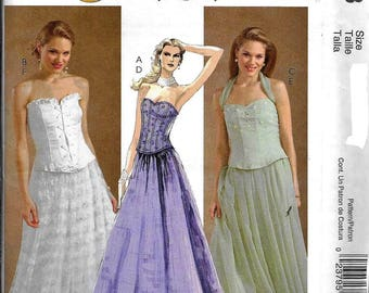 McCall's M4833 Evening Elegance Lace Up Corset Top And Skirt Dress Sewing Pattern UNCUT Size 8, 10, 12, 14