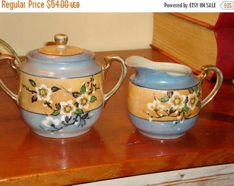 Superb Vintage CREAMER & Two-Handled SUGAR BOWL, Hand-Painted Lustreware From Occupied Japan - 1940's