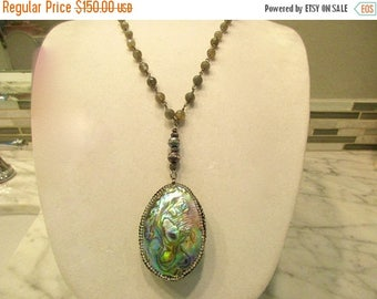 """Exquisite ABALONE Necklace: 2 5/8"""" Abalone & Rhinestone Encrusted Pendant, 2 Peacock BAROQUE Pearls, Gleaming LABRADORITE Rosary Chain"""