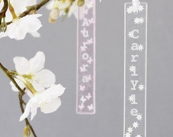 Personalised glass star print hanging decoration