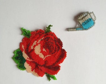 Beadwork Rose Brooch. Red rose. Flower jewelry.Rose necklace.Statement necklace.Unique Hand Beaded brooch. Bright jewelry. Original jewelry.