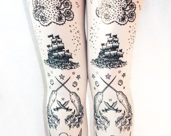 Tattoo Tights Extra Large Plus Size Black on White Sailor Lolita Anchor