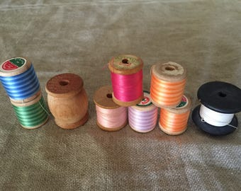 Fabulous VINTAGE collection, wooden cotton reels / spools.