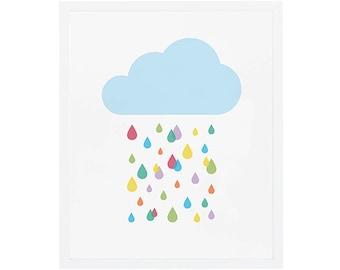 Rainbow Raindrops Nursery Art --- Wall Art --- Colorful and Modern --- 5x7