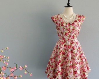 CLEARANCE SALE Lolita Dress Red Floral Backless Dress Bow Back Dress Red Floral Dress Party Wedding Bridesmaid Dress Cap Sleeves  XS-Xl