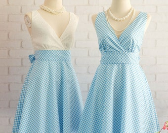 Blue dress Blue Plaid Dress Blue Sundress Blue Bridesmaid Dresses White Lace Top Blue Party Dress Blue Tea Dress Summer Blue Dress V Neck