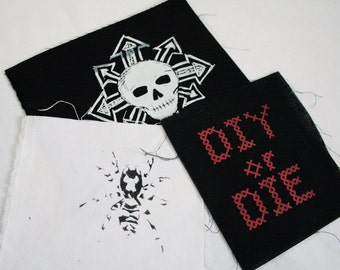 5 misprinted patches surprise pack - screen print DIY punk