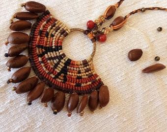 Mayan micro macrame necklace with carnelian stone beads