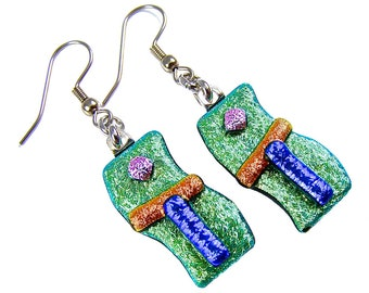 Dichroic Earrings - Green Orange Blue Pink Striped Dichro Crinkle Crumble Fused Glass - Dangle Surgical Steel French Wire or Clip On - 1""