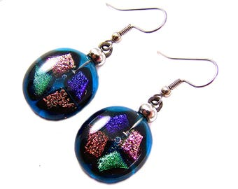 """Dichroic Dangle Earrings - Turquoise Blue Copper Pink Green Cobalt Mosaic Chips Fused Glass - 3/4"""" 20mm - Surgical Steel French Wire"""