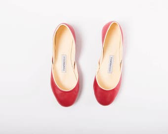 The Ballet Flats in Red Leather | Pointe Style Flat Shoes in Lipstick Red