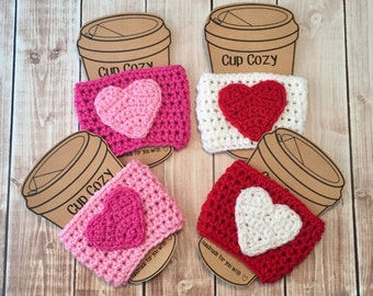 Valentine's Day Coffee Cup Cozy/Set of 4 Coffee Cup Cozies/Heart Coffee Cup Cozy/Crochet Coffee Cup Cozy- READY TO SHIP
