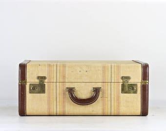 Vintage Suitcase, Tweed Striped Suitcase, Striped Suitcase, Suitcase Vintage, Old Suitcase, Vintage Striped Suitcase, Luggage