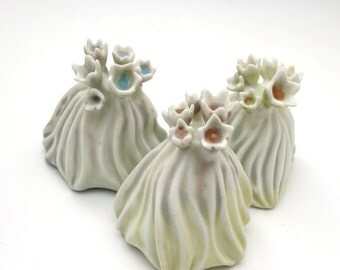 Pastel porcelain flower reef, miniature, hand built & carved, blue, peach, yellow