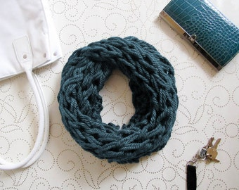 Teal Knit Scarf, Scarf, Chunky Knit, Infinity Scarf, Knit, Knit Cowl, Knitting
