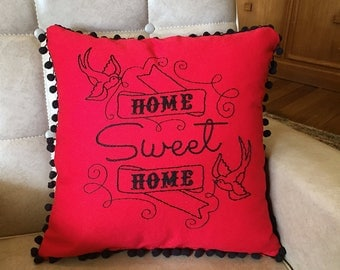 Rockabilly Retro Tattoo style Hand Embroidered Home Sweet Home Pillow in Red & Black