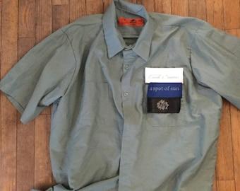 X-Large Land Cruiser mechanics shirt 40 series Velcro patch front Red Kap green