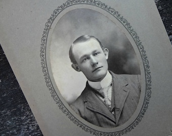"Goodlooking Man Cabinet Photo / Handsome Man / Antique Photograph 1800's / Paper Ephemera  6""x4"" (AA1)"