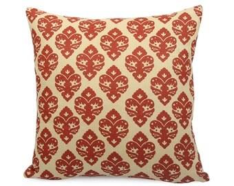 Red Floral Geometric Pillow, Square and Lumbar Pillowcase, Red Tan Accent Pillow, Fleur De Lis Cushion Sham, Shabby Chic Decor, Diamond Red