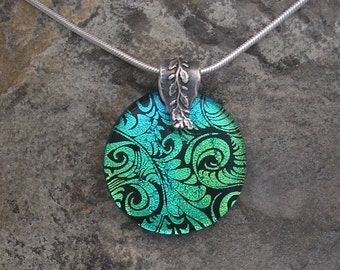 Teal Green Plume Necklace Fused Dichroic Glass Green Pendant