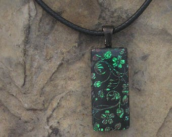 Floral Dichroic Fused Glass Pendant Green Necklace