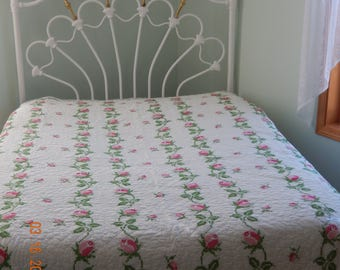 Vintage Quilt Handmade CrossStitch Floral Pink and Green on White Background Hand Quilted Full