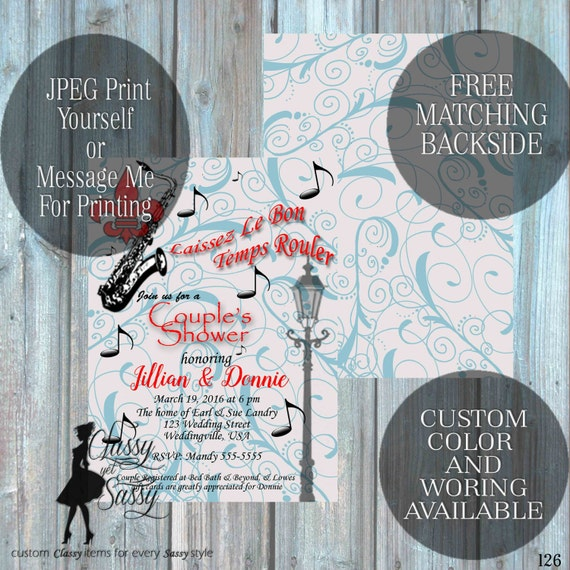 Couples Shower Invitation,Louisiana Couples Wedding Shower Invitation, Couples Shower party Invitation 126