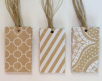 25 Pre-Strung Assorted Kraft and White Tags