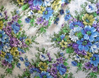 "Purple, Blue, Green and White Floral Vintage Fabric, 70"" x 42"""