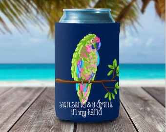 Personalized Can Coolies - Beach Parrot Can Coolers Bridesmaids & Bachelorette Party Favors  - Monogrammed Beer Can Coolers -