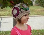 Cloche Hat Downton Style Colorful Flowers Beanie